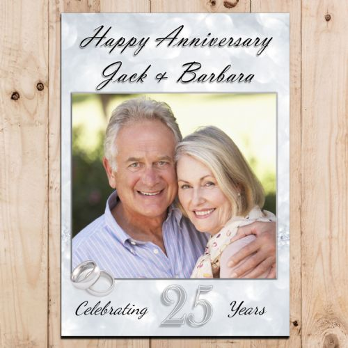 Personalised 25th Silver Wedding Anniversary Party PHOTO Banner Poster N74